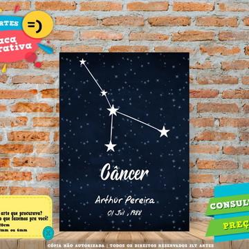 Placa Signos Zodíaco Astrológico Câncer - Personalizada