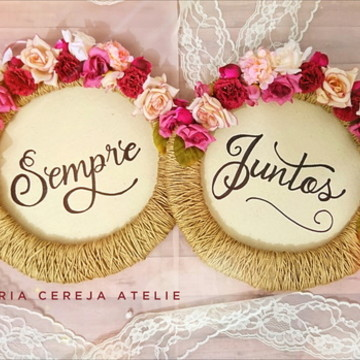 Placa para Cadeira dos noivos - Marsala e rose