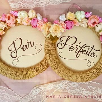 Placa para Cadeira dos noivos Rústica Rosa e champanhe