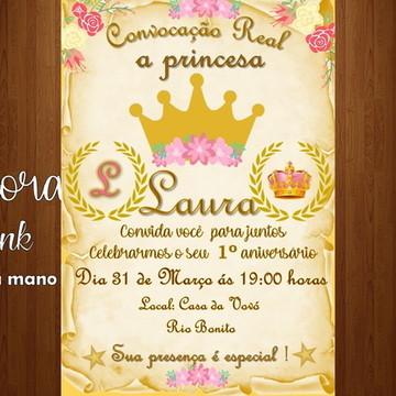 convite digital realeza princesa coroa