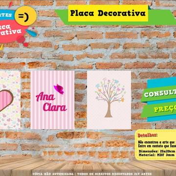 Placa Decorativa - 3 Placas Personalizada Jardim