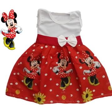 Vestido Infantil Festa Minnie Vermelha