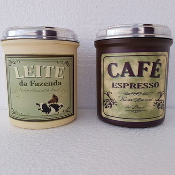 Conjunto Latas para Café e Leite Vintage Retrô 2 Pçs