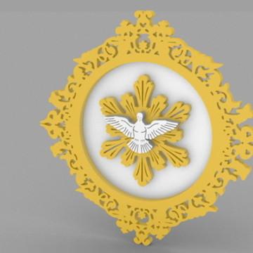 Escapulário Divino Espírito Santo - 8,5 x 8,5 cm
