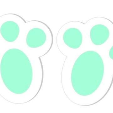 Adesivos Pegadas de Coelho da Páscoa - Verde - 48 unidades