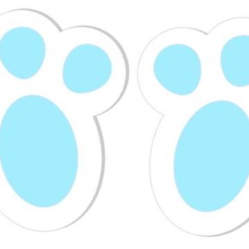 Adesivos Pegadas de Coelho da Páscoa - Azul - 48 unidades
