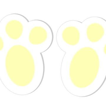 Adesivos Pegadas de Coelho da Páscoa - Amarelo - 48 unidades