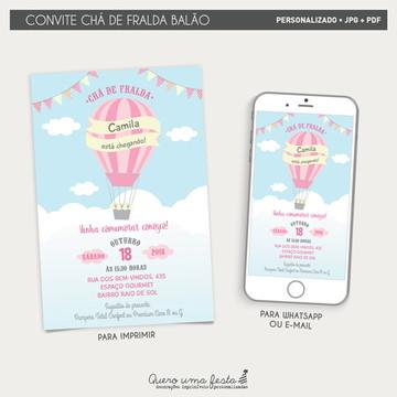 Convite Chá de Fraldas Balão - arquivo digital