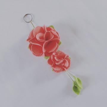 Chaveiro de Flor de Feltro – Rosa Claro
