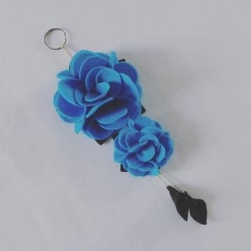 Chaveiro de Flor de Feltro – Azul Turquesa