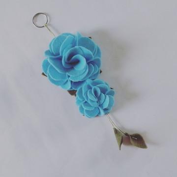 Chaveiro de Flor de Feltro – Azul Claro