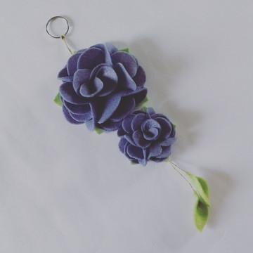 Chaveiro de Flor de Feltro – Lilás
