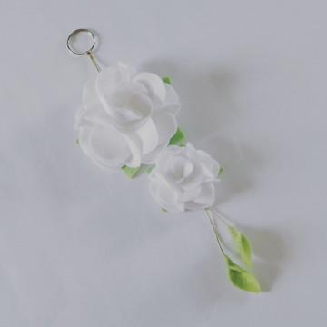 Chaveiro de Flor de Feltro – Branco