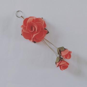 Chaveiro de Flor de Feltro – Pêssego 2