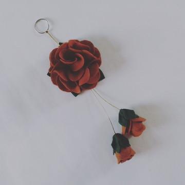 Chaveiro de Flor de Feltro – Caramelo 2