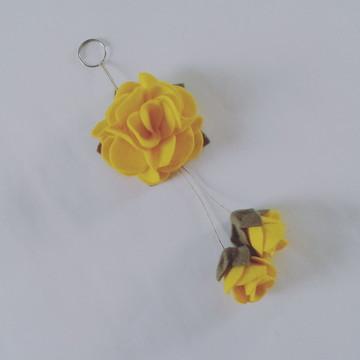 Chaveiro de Flor de Feltro – Amarelo 2