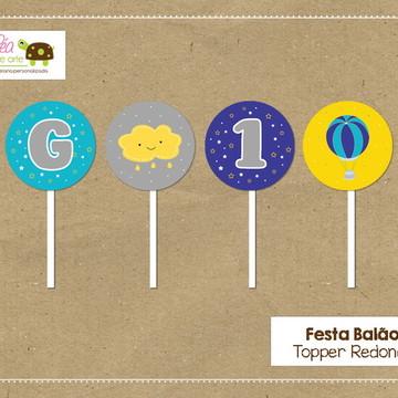 Topper redondo festa Balão