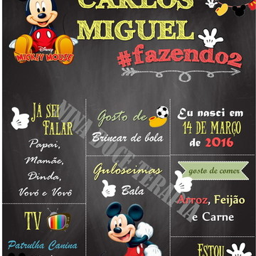 Arte Digital - Chalkboard Personalizado Mickey