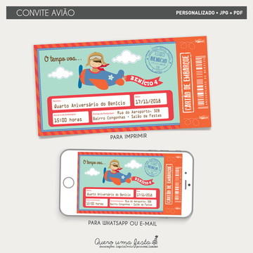 Convite Avião - arquivo digital