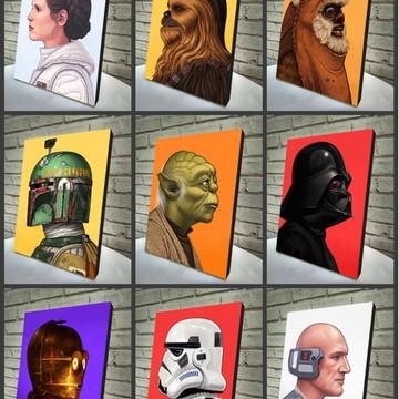 Combo Poster / Quadro 9pçs Star Wars