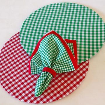 Sousplat xadrez vermelho e verde kit coordenado