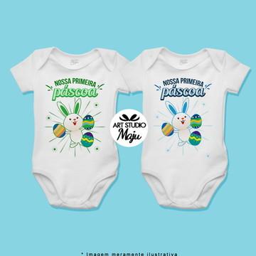 Body Personalizado para Irmãos Gêmeos - Primeira Páscoa