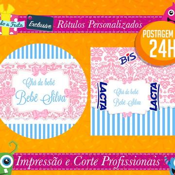 Chá de Bebê Azul e Rosa - Postagem em 24H - Rótulos Adesivos