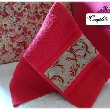 Toalha de Lavabo Conjunto Vermelho e Marrom