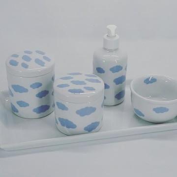 kit Higiêne porcelana nuvens