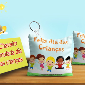 Chaveiro Almofada Personalizado Dia das Crianças