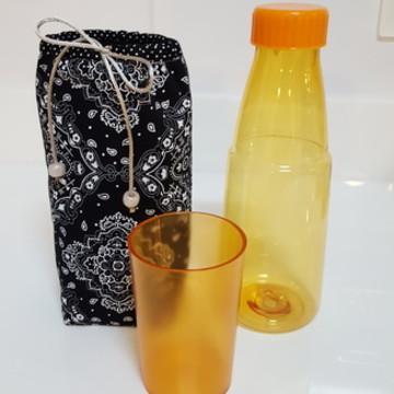 Kit Porta garrafa mandala + garrafa de acrílico com copo