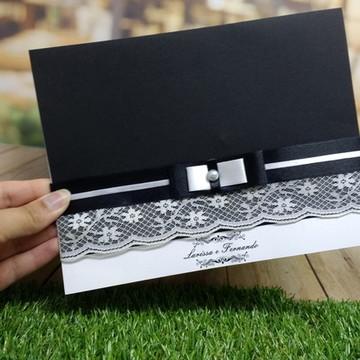 Convite de Casamento Color com Fita e Renda (modelo 3)