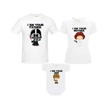 Kit Camiseta Star Wars Baby Darth Vader Princesa Leia Luke 2