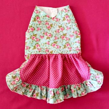 Vestido pet floral com saia poá
