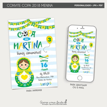 Convite Copa do Mundo Menina - arquivo digital