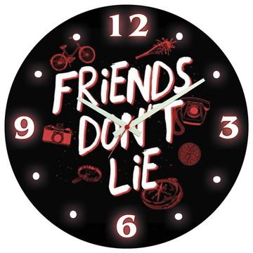 Relógio de Parede   Stranger Things Friends Dont Lie