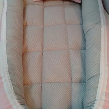 Ninho de bebê para Berço tamanho RN/P Cinza Poá/Rosa