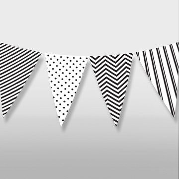 Varal bandeirinha bandeirola preto branco geométrico