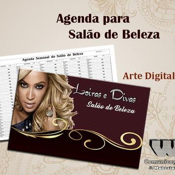 Arte Digital Agenda completa Salão de Beleza 1 Profissional