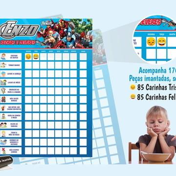 Quadro de Rotina Super Herois - Decoração The Avengers