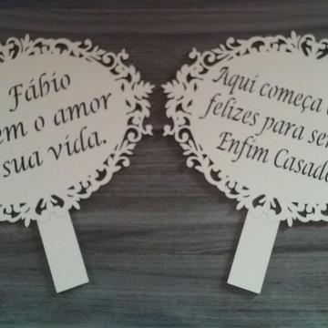 Placa para casamento em MDF 3mm - branca