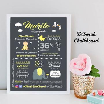 Chalkboard Chá de Bebê Elefantinho A3