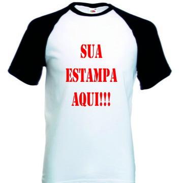 Camiseta Raglan Manga Curta Personalizada Sua estampa