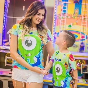 Blusas Tal mãe tal filho Monstro Cute