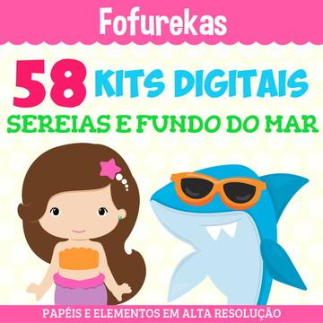 Kit Digital Pacote - Sereias e Fundo do Mar