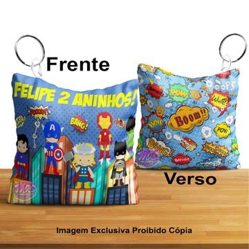Chaveiro Almofada Personalizado Tema Herois Baby