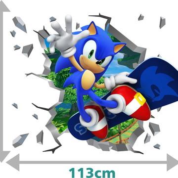 Adesivo 3D Sonic Parede Quebrada