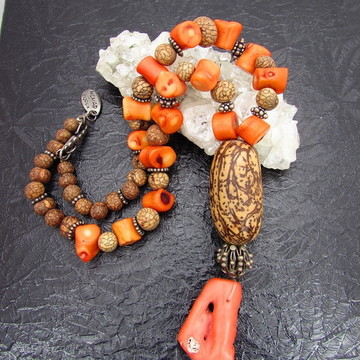 Colar Mix Coral Sementes de Açai Pendente Jupati e Coral