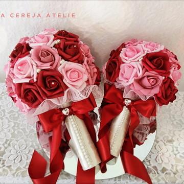 Kit de buques Noiva e Daminha Marsala e rosa