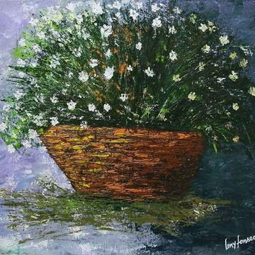 """Pintura em tela """"Cesto de Flores"""""""